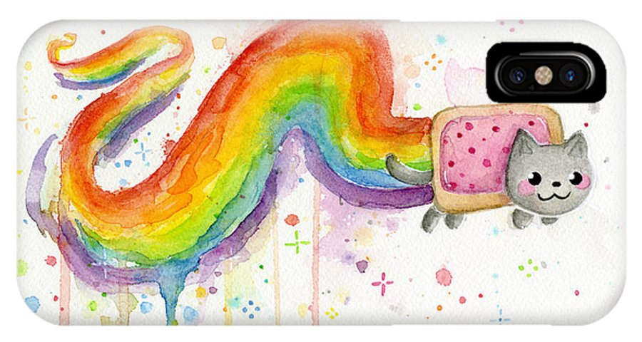 Nyan IPhone X Case featuring the painting Nyan Cat Watercolor by Olga Shvartsur