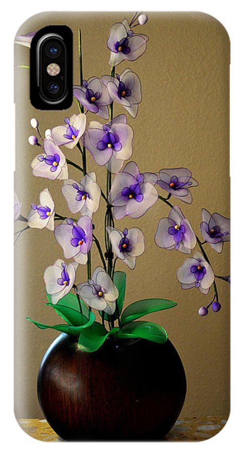 Flower IPhone X Case featuring the photograph Nylon Stocking Orchid by Isabella Art Shop