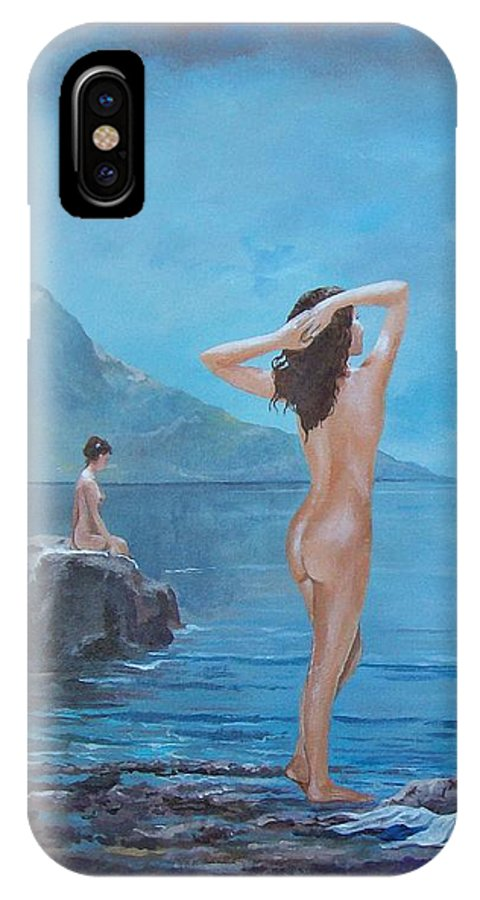 Female Figures IPhone X Case featuring the painting Nymphs by Sinisa Saratlic