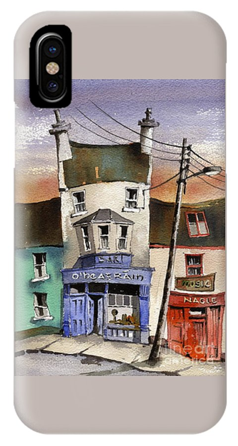 Val Byrne IPhone X Case featuring the painting O Heagrain Pub, Viewed 21,339 Times by Val Byrne