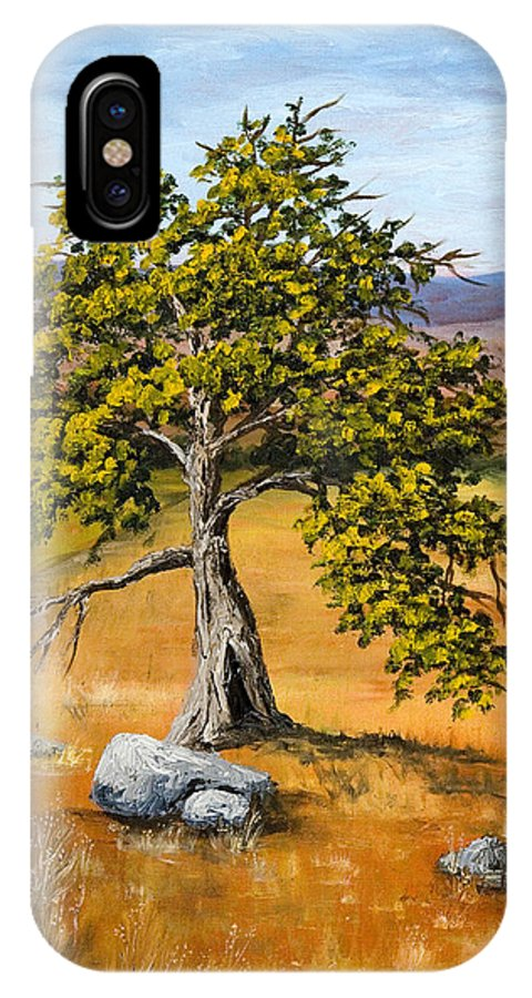 Landscape IPhone X Case featuring the painting Oak Tree by Darice Machel McGuire