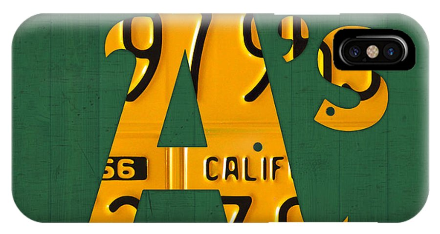 Oakland Athletics IPhone X Case featuring the mixed media Oakland Athletics Vintage Baseball Logo License Plate Art by Design Turnpike