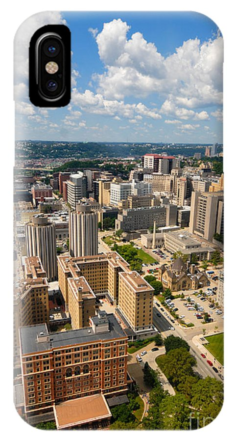 Aerial View IPhone X Case featuring the photograph Oakland Pitt Campus With City Of Pittsburgh In The Distance by Amy Cicconi