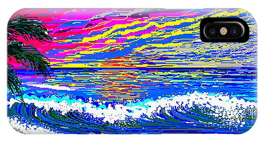 Ocean Sunset Quickly Sketched In 3 Hours. IPhone X / XS Case featuring the digital art Ocean Sunset by Larry Lehman