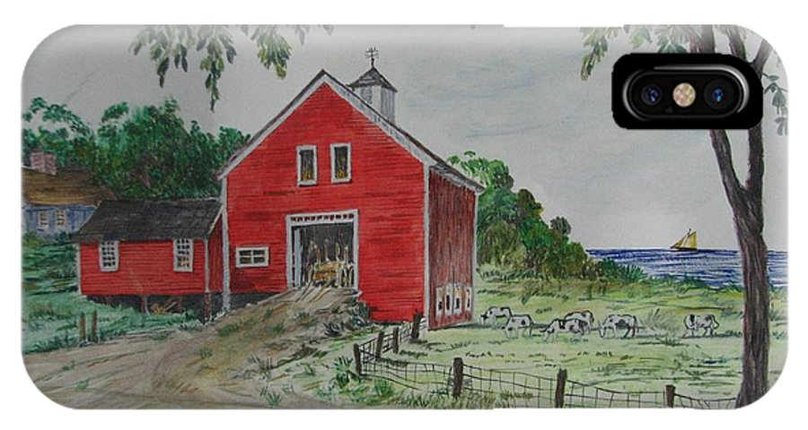 Barn IPhone X / XS Case featuring the painting Oceanside Farm by Michael Race