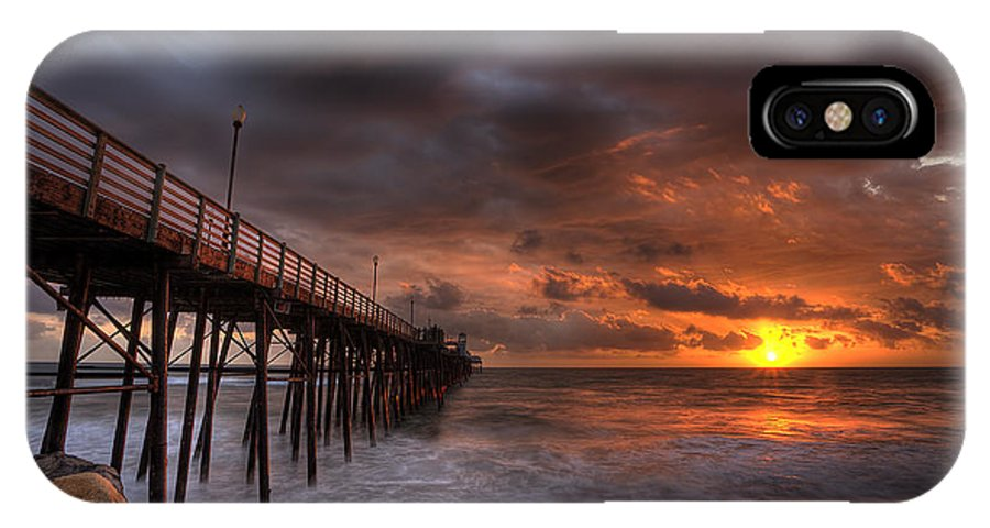 Sunset IPhone X Case featuring the photograph Oceanside Pier Perfect Sunset by Peter Tellone