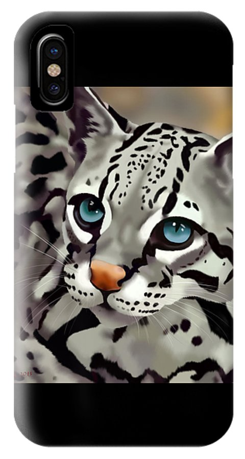 Cats IPhone X Case featuring the painting Ocelot by Melissa King
