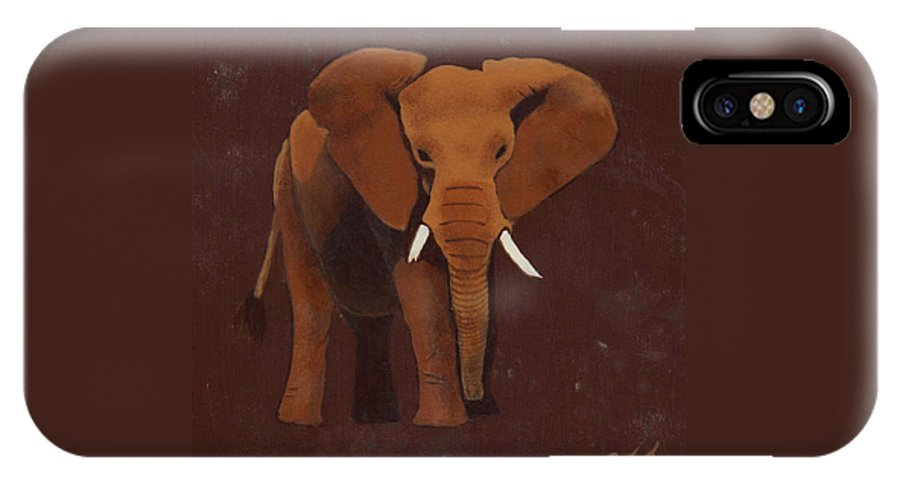 Elephant IPhone X Case featuring the painting Ocre Elephant by Sandy Jasper