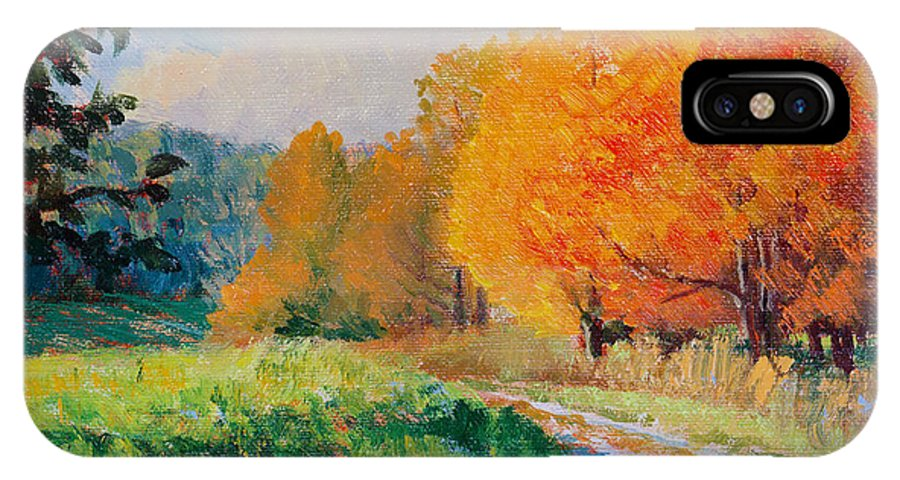 Impressionism IPhone X Case featuring the painting October Backroad by Keith Burgess