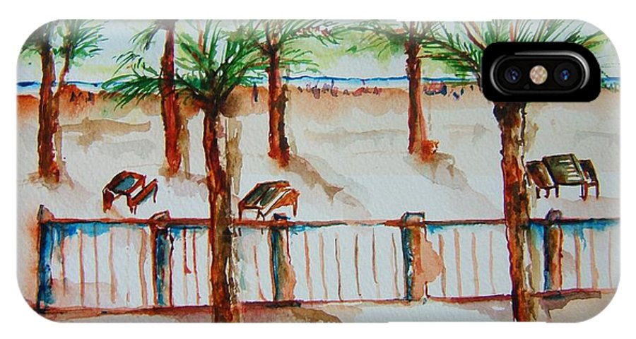 Palms. Palm Tree IPhone X Case featuring the painting Off Boardwalk by Elaine Duras