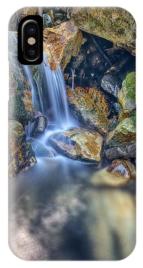 Waterfall IPhone X Case featuring the photograph Off The Rocks Into The Pool by Mitch Johanson