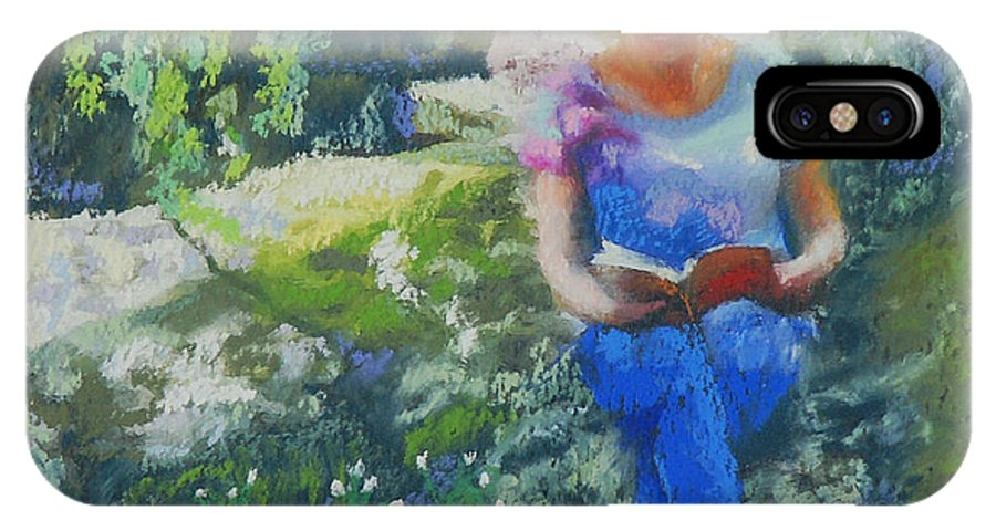 Portrait IPhone X / XS Case featuring the painting Off The Rugged Trail by Patricia Collins-Perkey