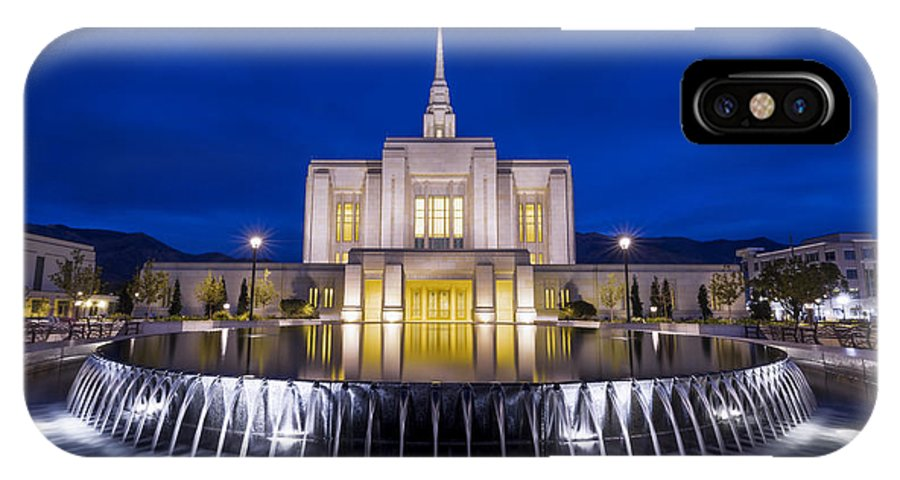 Ogden IPhone X / XS Case featuring the photograph Ogden Temple II by Chad Dutson