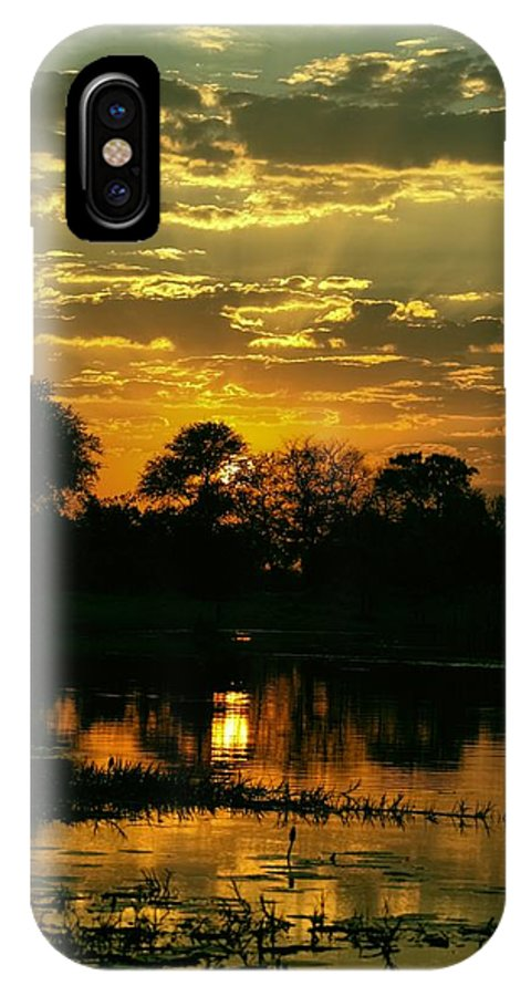 Okavango Swamp IPhone X Case featuring the photograph Okavango Sunset by Amanda Stadther