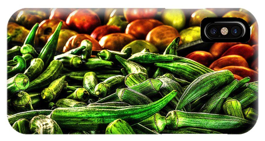 Okra IPhone X Case featuring the photograph Okra And Tomatoes by David Morefield