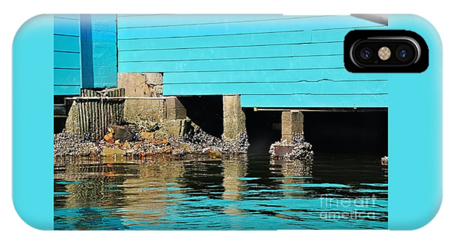 Photography IPhone X Case featuring the photograph Old Aqua Boat Shed With Aqua Reflections by Kaye Menner
