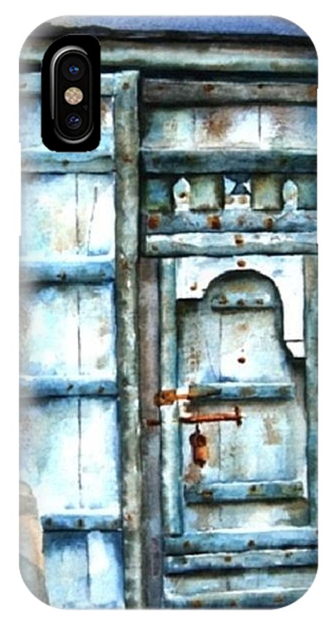Antique IPhone X Case featuring the painting Old Arabian Door by Judy Shinnick