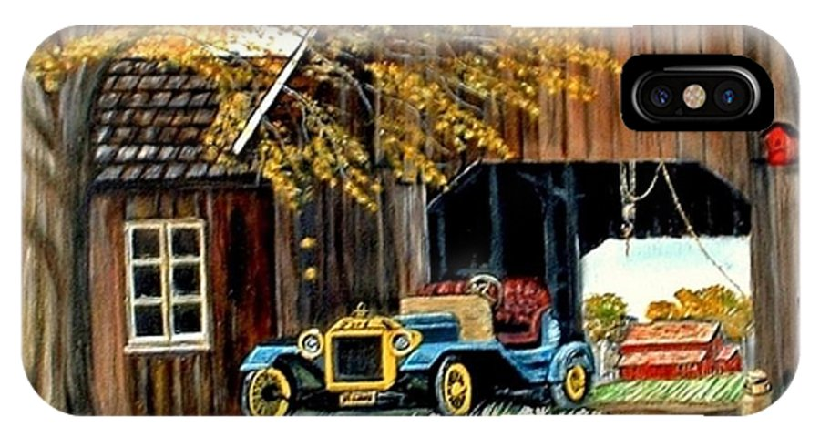 Old Barn Car IPhone X Case featuring the painting Old Barn and Old Car by Kenneth LePoidevin