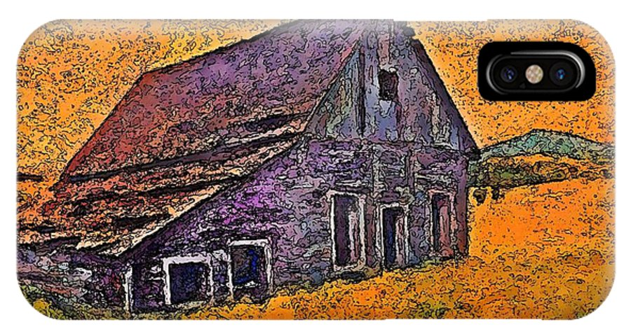 Barn IPhone X Case featuring the painting Old Barn Orange by Stanley Funk