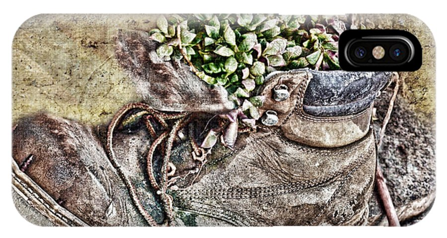 Nature IPhone X Case featuring the photograph Old Boot Flowerpot by Debbie Portwood