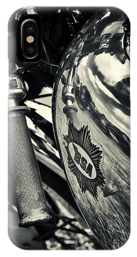 Bsa IPhone X Case featuring the photograph Old Bsa Cafe Racer by Tim Gainey