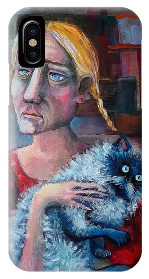 Age IPhone X Case featuring the painting Old Child Of The City by Elisheva Nesis