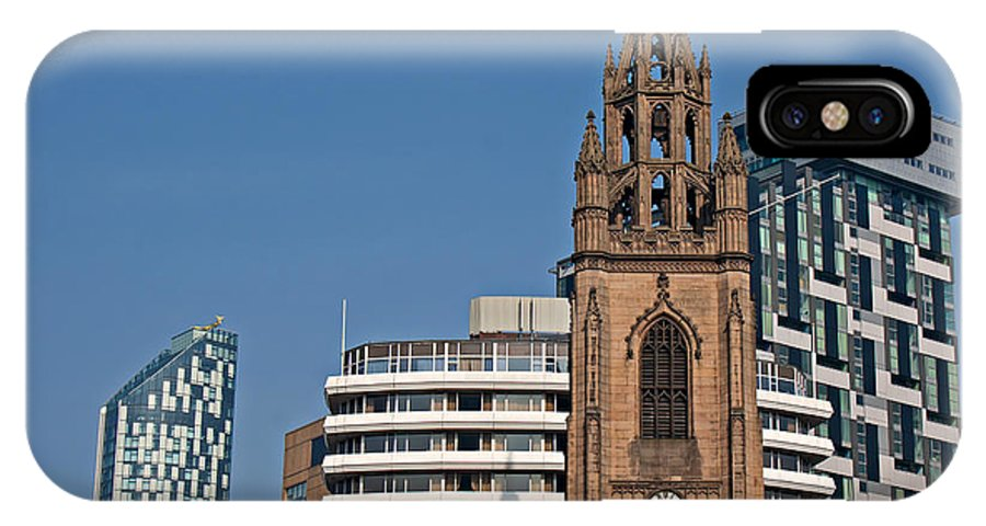 Nicholas IPhone X Case featuring the photograph Old Church Amongst New High Rise Modern Apartments by Ken Biggs