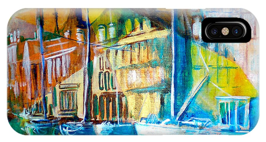 Old World Street IPhone X Case featuring the painting Old Copenhagen Thru Stained Glass by Seth Weaver