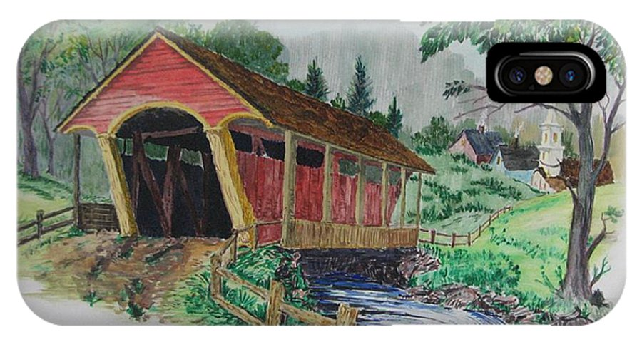 Covered Bridge IPhone X / XS Case featuring the painting Old Covered Bridge by Michael Race