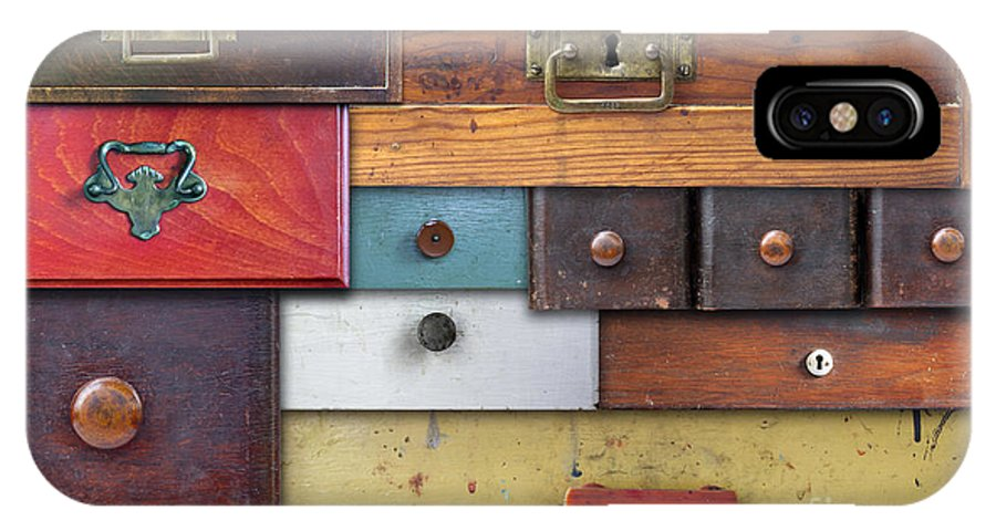 Abstract IPhone X Case featuring the photograph Old Drawers - In Utter Secrecy by Michal Boubin