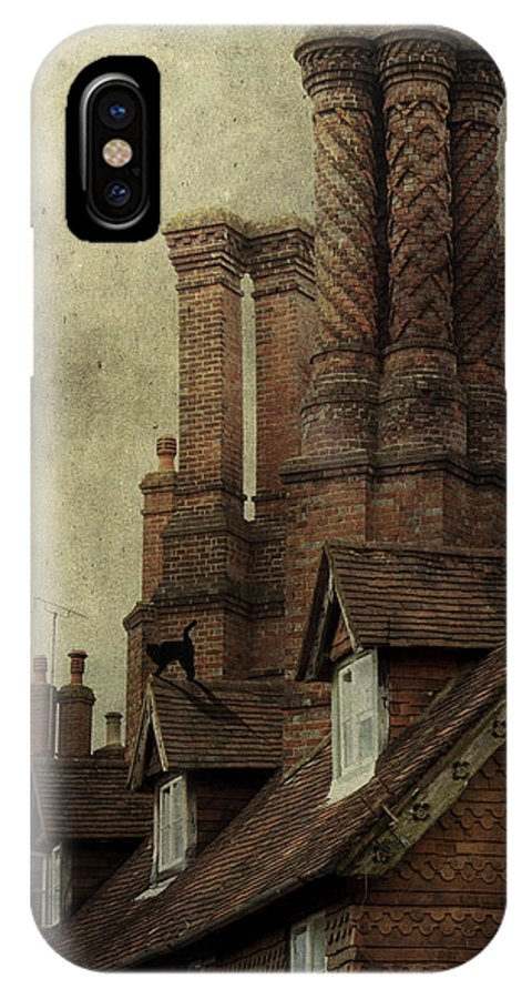 House IPhone X Case featuring the photograph Old English House With Cat by Ethiriel Photography