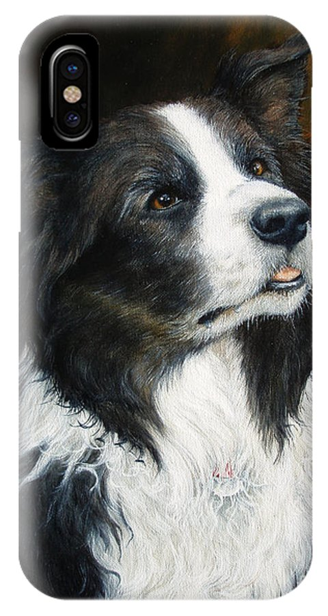 Border Collie IPhone X Case featuring the painting Old Faithful by Joey Nash