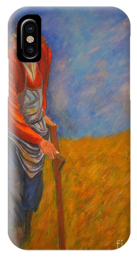Farmer IPhone X Case featuring the painting Old Farmer Michel by Dagmar Helbig