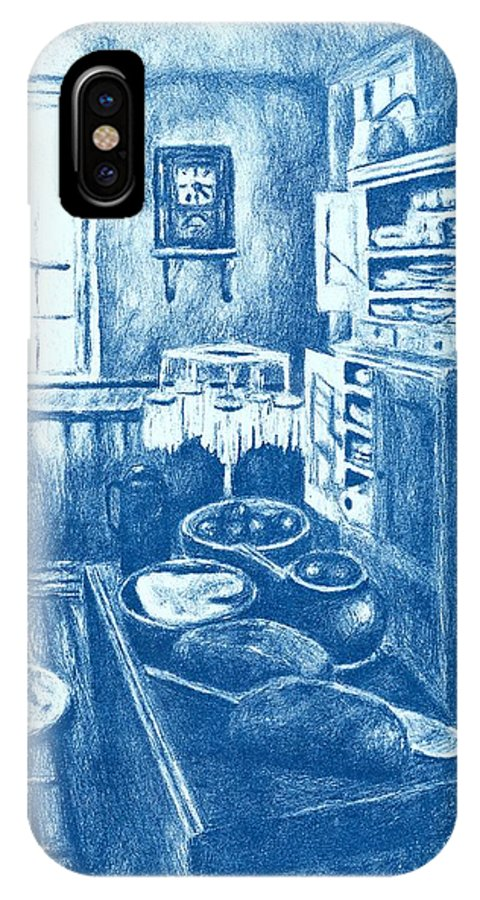 Lithograph IPhone X Case featuring the drawing Old Fashioned Kitchen In Blue by Kendall Kessler