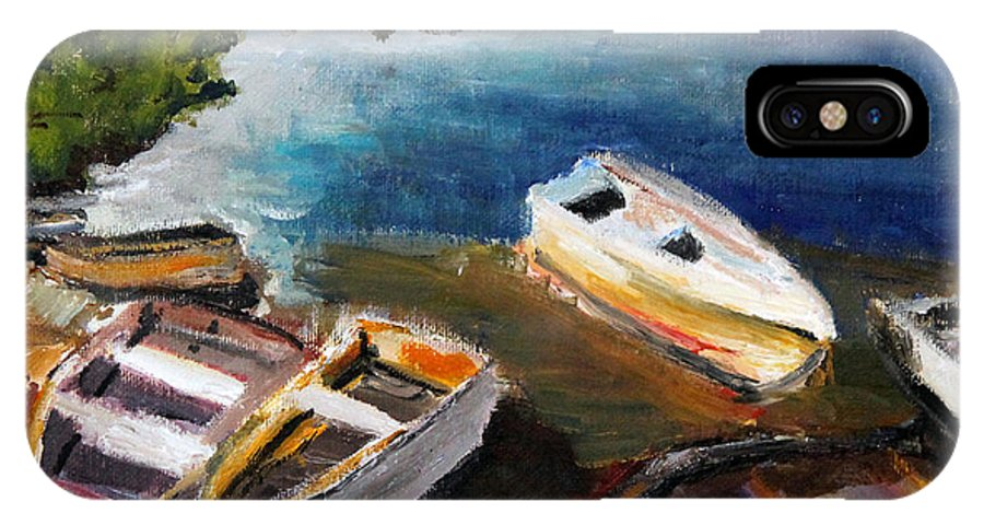 Old Row Boats IPhone X Case featuring the painting Old Folks Home by Michael Helfen
