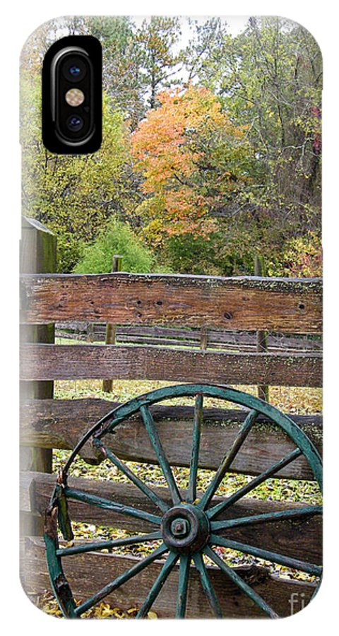 Old Wagon Wheel IPhone X Case featuring the photograph Old Green Wagon Wheel by Cheryl Hardt Art