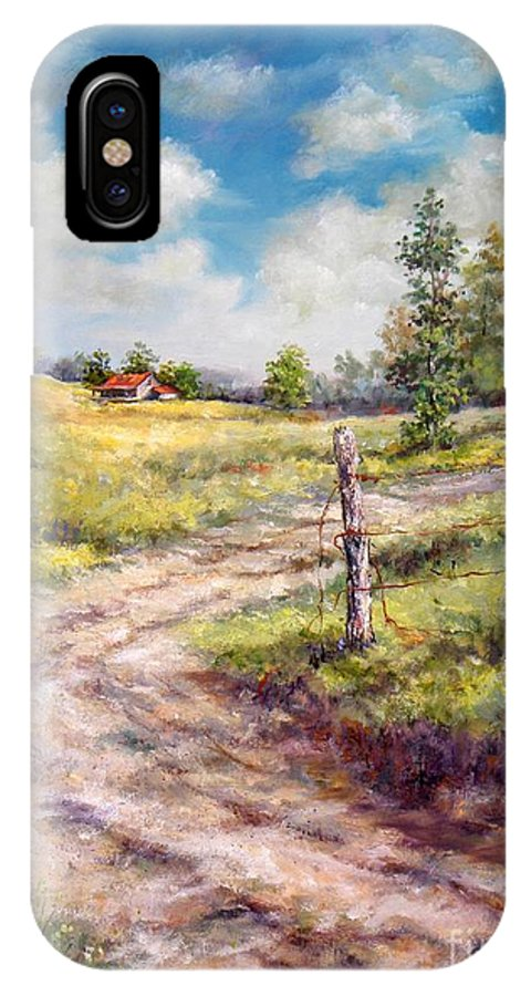 Landscape IPhone X Case featuring the painting Old Home Place by Virginia Potter