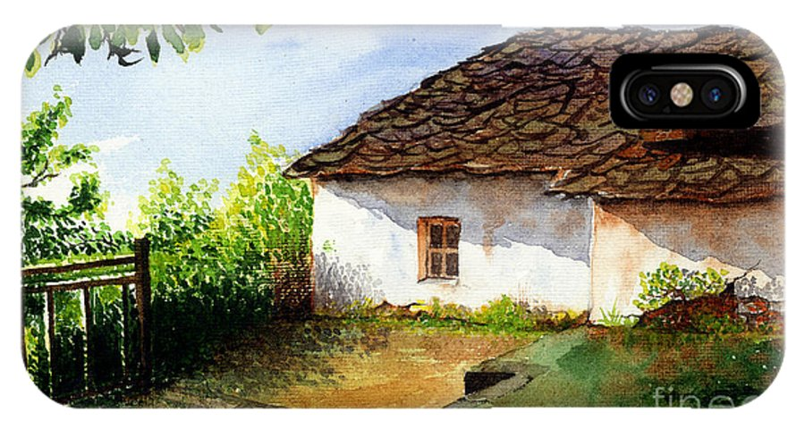 Landscapes IPhone X Case featuring the painting Old House by Abhijit Dharankar