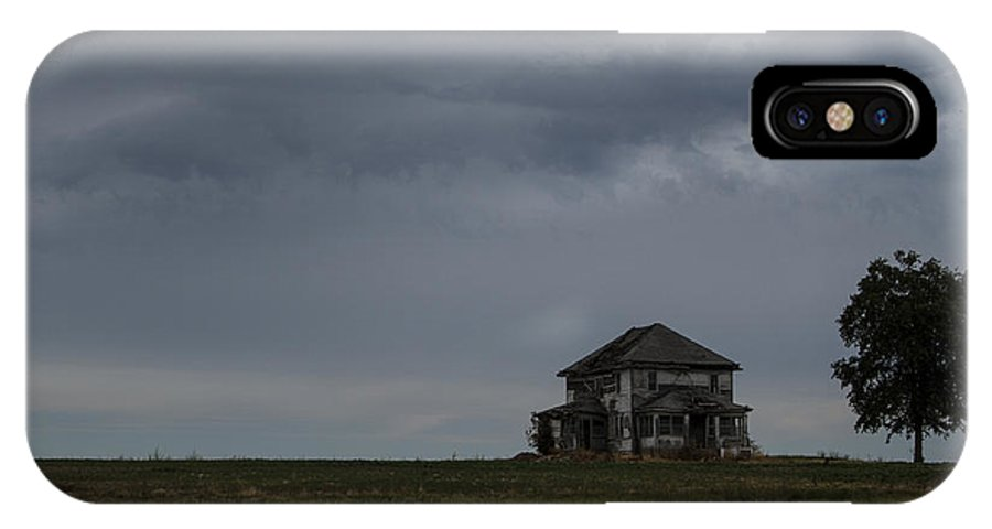 Storm IPhone X Case featuring the photograph Old House On The Prairie by Guy Shultz