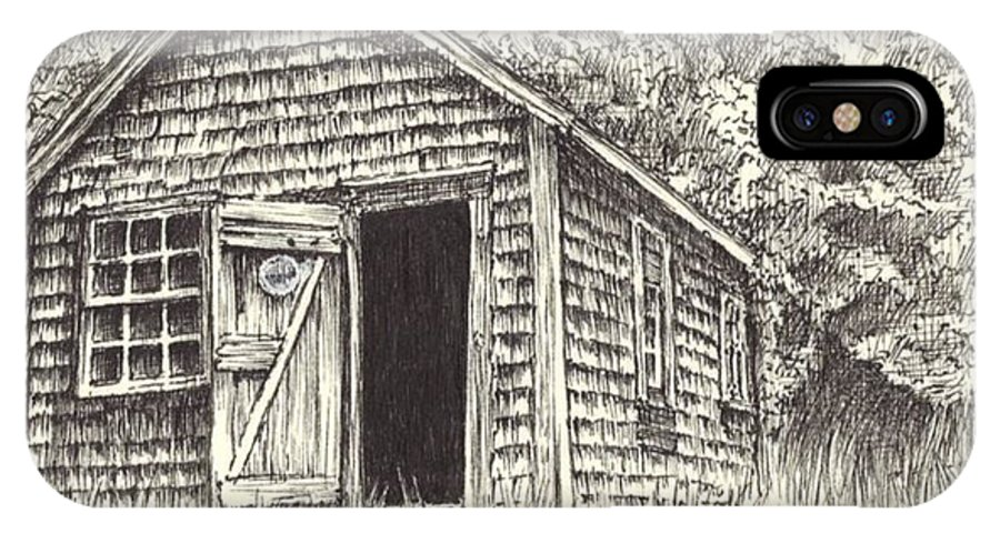 Lanes Cove IPhone X Case featuring the drawing Old Lanes Cove Fishing Shack by James Oliver