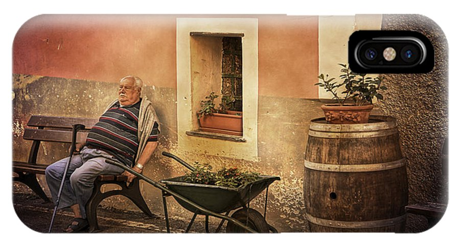 Old Man IPhone X Case featuring the photograph Old Man In Monterossa Italy Dsc02447 by Greg Kluempers