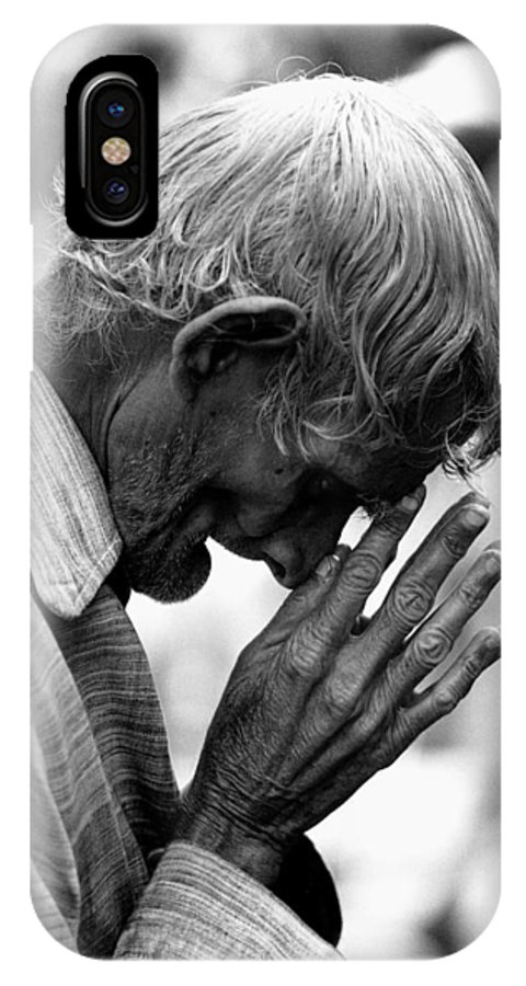 Old Man Praying Jagannath Temple Puri Orissa India Asia 1977 IPhone X Case featuring the photograph Old Man Praying by Jagdish Agarwal