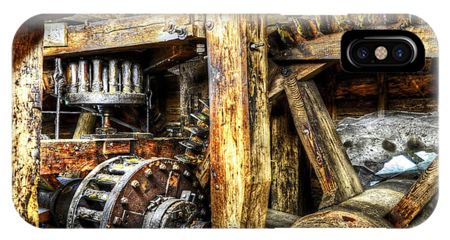 Hdr IPhone X Case featuring the photograph Old Mill Cogs by Paul Mashburn