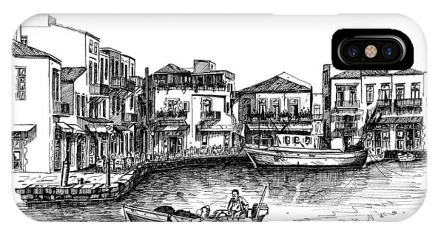 Rapitgraf No. 02 And No. 03 IPhone X / XS Case featuring the drawing Old Port- Rethymno by Franko Brkac