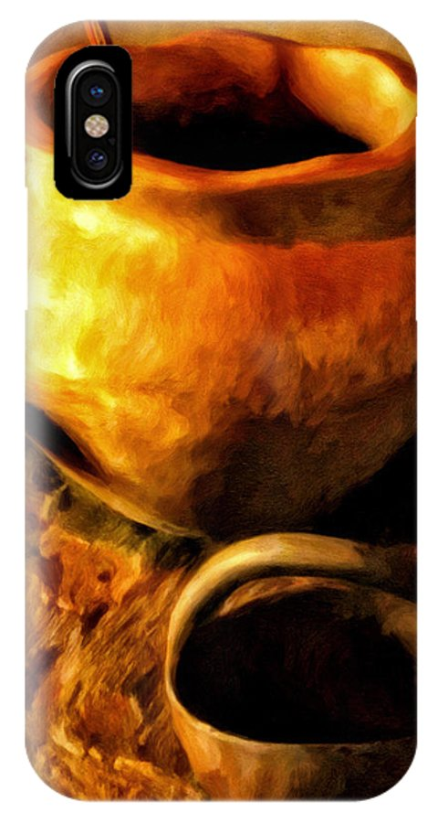 Pots IPhone X Case featuring the painting Old Pot And Ladle by Michael Pickett
