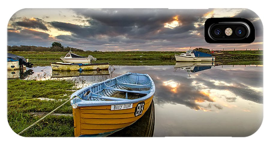 Sunrise IPhone X Case featuring the photograph Old Salmon Boat by Dave Wilkinson