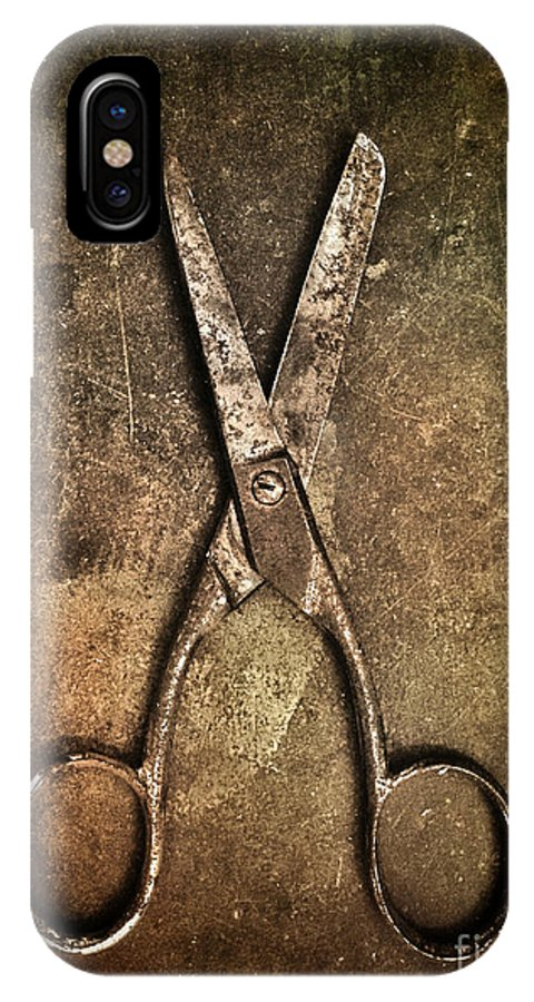 Scissors IPhone X Case featuring the photograph Old Scissors by Carlos Caetano