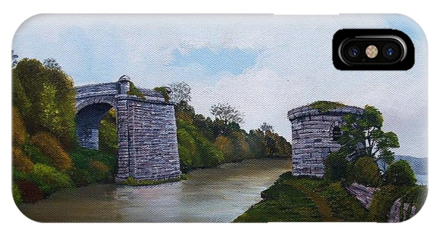 Landscape IPhone X Case featuring the painting Old Severn Bridge by Richard Taylor
