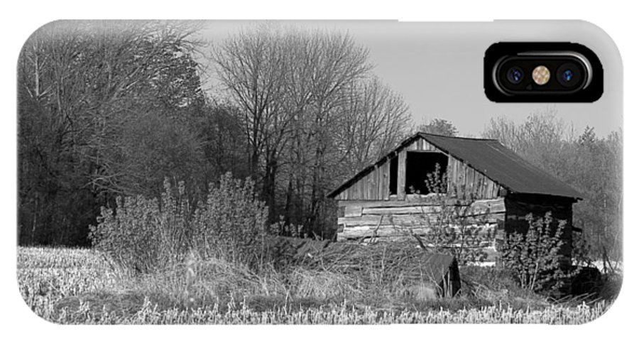 Black And White IPhone X Case featuring the photograph Old Shed by Richard Kitchen