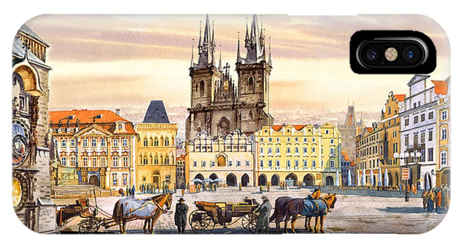 Happy Praha Paintings IPhone X Case featuring the painting Old Town Square by Dmitry Koptevskiy